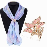 Crystal Rhinestone Enamel Butterfly Scarf Clips Pins Buckle Chic Mulheres Lady Party Casamento Broche Buckle Holder Atacado DHH005