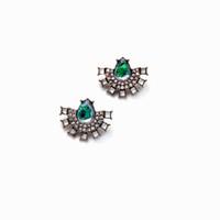 Wholesale Big Teardrop Earrings - Full Rhinestone Bejeweled Big Green Teardrop Stone Inlay Fan Shape Statement Earring Stud Antique Gold