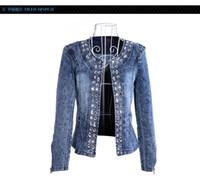 Wholesale Diamond Denim Jacket - New Slim Denim Jackets Outerwear Coats Classical Rhinestone Sequins Retro Jackets Women Coats With Rivets Female Jackets H223