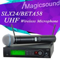 Wholesale Slx Wireless - High Quality SLX SLX24 BETA58 High Quality Single Handheld Wireless Microphone UHF Vocal Microfone System with 6 pin Handheld