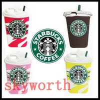 Wholesale Starbucks 4s - 3D Starbucks Coffee Cup Soft Gel Rubber Silicone Case For iPhone 4 4S 5 5S 6 6S Plus Samsung Galaxy S5 S6 EDGE