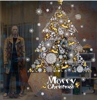 etiqueta de vidrio de la puerta al por mayor-XH9293 árbol de navidad navidad copo de nieve pared ventana de vidrio puertas y ventanas etiquetas de la pared decorativas pegatinas tienda de fondo