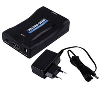 Wholesale Hdmi Scart Tv - Hot HDV-60S Mini MHL HDMI to SCART Video Converter Scaler for TV Smartphone EU Wholesale