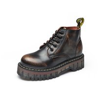 botas de estilo británico casual al por mayor-X12a Winter Retro British Style Brogues de cuero Oxfords Short Boot Mujeres Zapatos Round Toe Casual Lady Suelas gruesas zapatos planos de cuero genuino