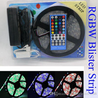 Wholesale Smd 3528 Package - Led Strip Light RGB RGBW 5M 5050 SMD 300Led Waterproof IP65 Controller Power Supply +blister Retail Package Christmas Gifts