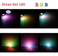 palhetas leves led venda por atacado-Atacado-frete grátis 1000pcs 5 mm (4.8 mm) chapéu de palha LED RGB cor clara / flash automático rápido / 5 mm RGB cor LED emitindo diodo