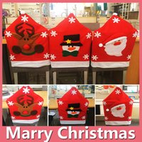 Wholesale Chair Feet Caps - 2016 Hot Christmas Gift Santa Red Hat Chair Covers Christmas Decoration Dinner Party Chair Xmas Cap DHL Free 161014