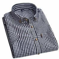 Wholesale Casual Grey Dress Shirt - Wholesale-2016 New Men's Cotton Shirt Summer Short Sleeve Plaid Shirt Mens Quality Grey Casual Shirt Brand Dress Shirts Tops Camisa AZ33