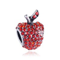 Wholesale Siver 925 Bracelet - Wholesale Crystal Red Appler Rhinestone Charm Beads 925 Siver European Charms Bead Fit Pandora Bracelet Fashion DIY Jewelry Xmas