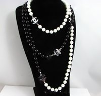 Wholesale Christmas Lady Hot - hot sale lady black white pearl letter necklaces women's multilayer necklace sweater chain jewelry christmas gift free shipping