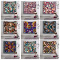 Wholesale Wall Weaving - 153*130cm Polyester Tapestry flower print Yoga Mat Picnic Blanket Printing Tapestry Hanging Wall Tapestry Home Décor 9 design LJJK754