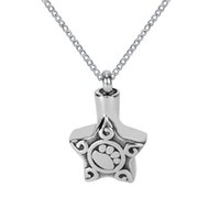 Wholesale Paws Bags - Lily Cremation Urn Necklace Pet Paw on Five-Pointed Star Memorial Ash Keepsake Pendant with Gift Bag Funnel and Chain