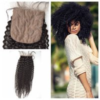 Wholesale Hair Closure Malaysia - Best Malaysian kinky curl hair Closure 4X4 Free Middle Part Malaysia silk curly top lace closure human hair closures G-EASY