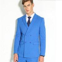 Wholesale Piercing Images - Blue pierced men The latest men's fashion suit beautiful wedding party tuxedo suits groom suits solid color lapel tuxedo