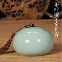 Wholesale Mail Tank - The tea pot bag mail Longquan celadon big yards tin can storage tanks ceramic POTS sealed cans wholesale tea packing A8W