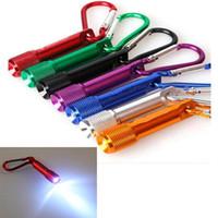 mejores linternas portátiles al por mayor-Mini linterna LED linterna llavero mejor portátil antorcha de aleación de aluminio con mosquetón anillo llaveros linterna LED escalada USZ145