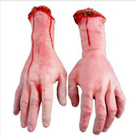 Wholesale Fake Cut - Free Shipping 1PC Severed Scary Cut Off Bloody Fake Latex Lifesize Arm Hand Halloween Prop Hot