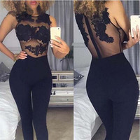organic red dates - Women Sexy Long Pants Jumpsuit Special for Valentine s Date Lace Bodysuit Transparent Mesh Embroidery Bodycon Jumpsuit Club Lace Rompers