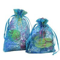 Wholesale Wholesale Candy Wraps - Coralline Pattern Blue Organza Drawstring Jewelry Pouches Party Wedding Favor Packaging Candy Wrap Square Gift Bags 9X12cm 3.5''X4.7'' 100pc