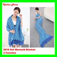 Wholesale Crochet Yarn Scarf - Retail+Wholesale Hot Mermaid Tail Blanket Handmade Yarn Knitted Crochet Women Sofa Mermaid Blanket Fashion Fringing Scarf Sleeping Bed