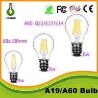 Wholesale B22 Led Clear Bulb - A60 led filament bulb 6W 8w LED E27 BULB Global clear filament bulb lamp e27 e14 b22 110v 220v