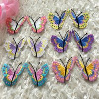 Wholesale Wholesale Embroidered Flower Appliques - (6 pairs lot) embroidered patches for sewing size is 7 cm * 5.5 cm butterfly flower applique handmade iron on sewing accessories zakka DIY