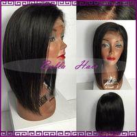 Wholesale Best Human Hair Yaki Wigs - Best Quality Brazilian Human Hair Bob Wigs Soft Straight Glueless Full Lace Wigs Bleached Knots Cut Bob Lace Front Wigs