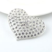 Wholesale Brooch Tips For Collar - 60 Pcs a Lot Love Silver Plated Brooch Rhinestone Brooches For Female Pins Scarf Clip Collar Tips Hijab Pin