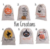 Wholesale Gift Candy Cartoon Bags - 20pcs DHL New Halloween Sacks Bag Canvas Personalized Children Candy Gifts Bag Pumpkin Spider treat or trick Drawstring Bags