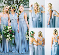 Wholesale wedding way - 2017 Cheap Convertible Long Chiffon Bridesmaid Dresses Eight Ways To Wear Beach Pleated Floor Length Country Wedding Bridesmaids Party Gowns