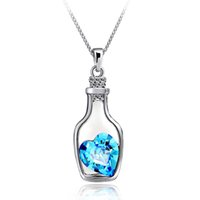 Wholesale Vintage Crystal Bottles Wholesale - Wholesale-2015 Vintage Silver Plated Jewelry Bottle Heart Shape Statement Necklace&Pendants Crystal Collares for Women Christmas Gift