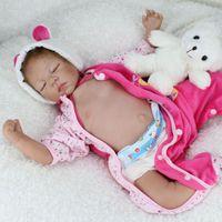 Wholesale Reborn Baby Girl Sleeping - Wholesale- Silicone Reborn Baby Dolls Sleeping Babies Lifelike Real Vinyl Belly 55cm Toys For Girls Bebe Alive Brinquedos Reborn Bonecas