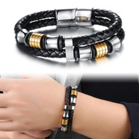 Wholesale Leather Double Layers Bracelet - Classical Double Layer Handmade Leather Weaved Man Bracelets Fashion New Magnet Clasp Good Steel Wristband,