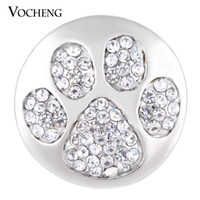 Wholesale Wholesale Paw Clasp - VOCHENG NOOSA 18mm Paw Print Ginger Snap Bling Crystal DIY Jewelry Vn-1135
