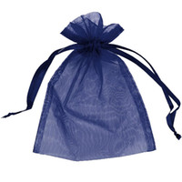 Wholesale Navy Gift Bag - 100 Pcs Navy Blue Organza Drawstring Pouches Candy Jewelry Party Wedding Favor Gift Bags Pouch Bags 7 x 9 Cm  2.8 x 3.6 Inches DIY Gift
