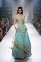 vestidos indios hacen al por mayor-Nuevos vestidos de noche indios de dos piezas únicos una línea de cuello alto medio mangas de encaje vestidos largos azules noche de fiesta por encargo vestidos de baile