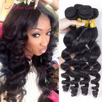 Cheap Human Hair Brazilian Loose Curls Cheveux Weave Wefts Modern Beauty Queen 4 Bundles 100g / pcs Loose Wave Hair Extensions Soft And Thick