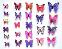 Wholesale Magnet Religious - Hot Sale! 12pcs Fashion Design 3D Butterfly Wall Fridge Magnet Sticker Home Art Applique Decoration HDE_004