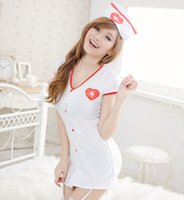 Wholesale New Style Nurse Uniform - New Style Sexy Costumes Cosplay Nurse Uniform Lingerie Fancy Dress Set Outfit Nightgown sexy set 190385