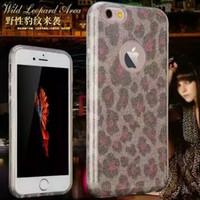Wholesale Rubber Leopard Iphone Case - Slim TPU Case For iPhone 6 6s Plus Glitter Leopard Protect Skin Rubber Anti-knock Phone Cases