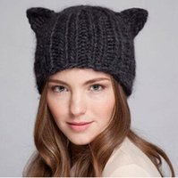 Wholesale Yellow Beanie For Sale - Hot sale!2016 New women fashion cute winter hats knitted wool caps cat ear designer for women MZ-19 wholesale free shipping