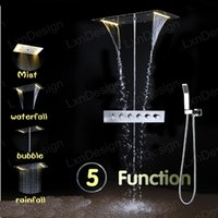 Wholesale Square Tap Set - bathroom conceal install thermostatic rain shower set faucet led lighting high end shower mixer tap home