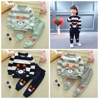 Wholesale Kids Bear Costumes - Bear Kids Clothes Baby Boys Clothing Set Toddler Boy Clothing Boutique Children Kleding Kids Boys Costume Spring Outfits Top+ Pant