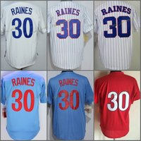 Pullover Pullover Montreal, 30 # Tim Raines Pinstipe Bianco Blu Throwback 1982 Baseball Jersey