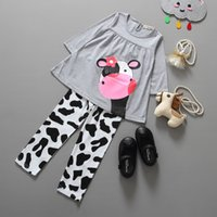 Wholesale Cute Hot Pants - Hot selling Children Girls Adorable cows Tunic Clothes printing Pants Set Toddler Girl Boutique Fall Outfits