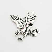 Wholesale Eagles Charms - 8pcs Antique Silver Plated Eagle Charm Pendants for Bracelet Necklace Jewelry Making DIY Handmade Craft 34x30mm