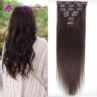 Wholesale Darkest Brown Clip Hair Extensions - #2 Darkest brown clip in hair extensions Brazilian human hair 16-22inch 7pcs set human hair clip in extensions for women