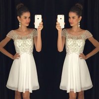 Wholesale girl size winter tops new for sale - Group buy 2017 New Arrival Sweet Scoop Short Homecoming Dresses Cap Sleeves Top Beading Chiffon Cocktail Party Gowns For Girls Custom Made