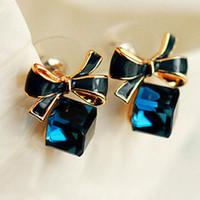 Wholesale Earrings Bowknot - New 1 Pair New Women Bowknot Dangle Shiny Cube Ear Studs Piercing Jewelry For Women Earring Free Shipping
