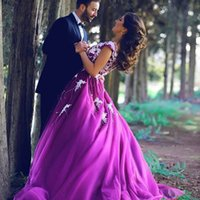 Wholesale Trendy Elegant Gowns - Hot Sale 2016 New Romantic Purple Long Prom Dresses Modest Elegant Ball Gowns Trendy Chiffon Sweetheart Floor Length Gown Evening Prom Gowns